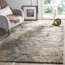 9 X 6 Area Rugs Safavieh Florida Shag Dark Grey Beige Floral Area Rug 8 U00276 X 12