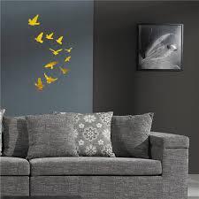 11 birds removable diy wall art 3d acrylic mirror surface wall