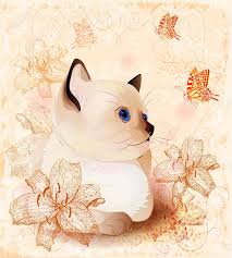 vintage birthday card with little siamese kitten and flowers