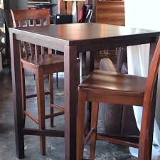 10759 high top bar style wood table with 2 chairs the nest