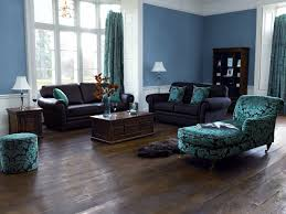 blue paint color ideas for living room with dark furniture and