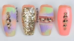 multi colored glitter acrylic nails youtube