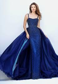 blue dresses fully beaded navy blue satin sheath prom dress with organza wrap