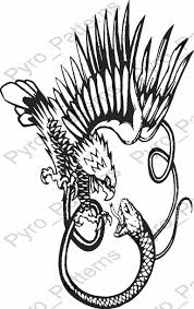 fighting snake and eagle owl bird pyrography wood burning pattern