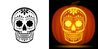 free sugar skull pumpkin stencil