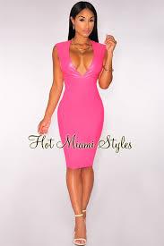 hot pink dress faux leather v neck dress