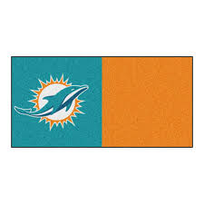 Home Design Depot Miami Fanmats Nfl Miami Dolphins Orange And Teal Nylon 18 In X 18 In