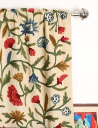 Curtain Panels Wular Crewel Curtain Panels And Drapes Hand Embroidered Cotton Fabric