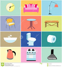 home furniture items misc furniture and household items stock vector illustration of