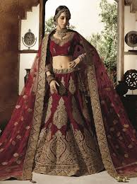 asian dulhan lenghas buy online inda maroon heavy bridal ghagra