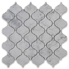 carrara white medium lantern shaped arabesque baroque mosaic tile
