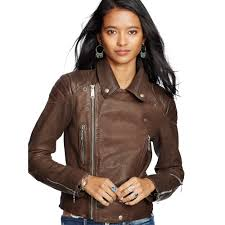 brown leather motorcycle jacket denim u0026 supply ralph lauren leather motorcycle jacket in brown lyst