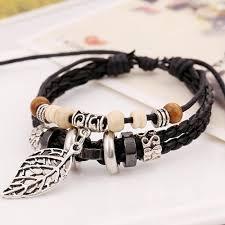 leather leaf bracelet images Leather bead bracelet with crown charm jpg