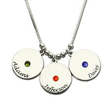 silver nameplate necklace personalized birthstone name necklace s disc necklace