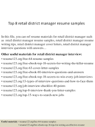 retail district manager resume samples cover letter sample