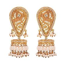 big jhumka gold earrings unique filigree work gold plated temple jhumka earrings by missori