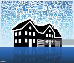 multifamily house on home automation and security vector