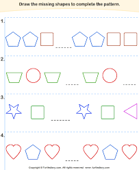 line pattern worksheet complete the shapes pattern worksheet turtle diary