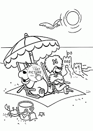 summer rest on the beach coloring page for kids seasons coloring