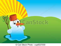 vector clipart of end of winter melting snowman csp6537030