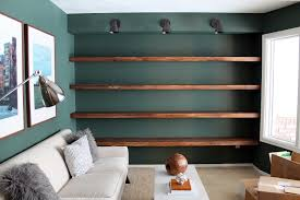 diy solid wood wall to wall shelves chris loves julia