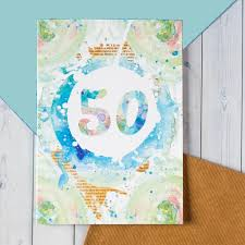 50 birthday card 50th birthday card watercolour blot design bookishly