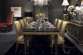 Luxury Dining Room Luxury Round Marble Dining Table For 4 Gold Dining Chairs Above
