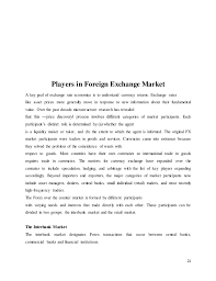 project of foreign exchange market