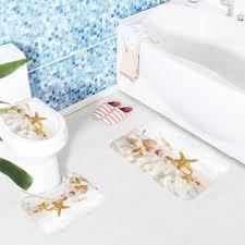 Washing Bathroom Rugs 3pcs Bath Mat Set Seashell Pattern Toilet Carpet Anti Slip