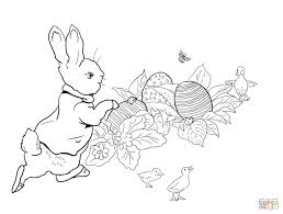peter rabbit easter egg hunt coloring page free printable