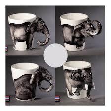 Decorating Porcelain Mugs Thailand Tea Coffee Mugs Ceramic 3d Cartoon Elephant Milk Mug Cup