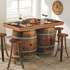 reclaimed wine barrel bar island set wine enthusiast