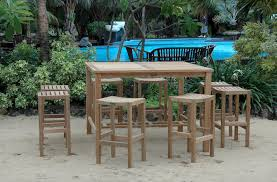 Outdoor Bistro Table Bar Height Mamagreen Allux Teak Outdoor Bistro Table Bar Height Intended For