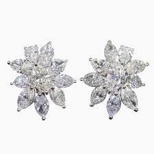 diamond cluster earrings marquise diamond earrings unique important pear and marquise diamond