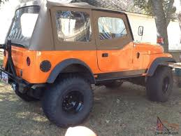 orange jeep cj cj7 1985 highly modified with best of everything salvage title