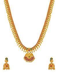 gold long necklace images Buy designer necklace sets graceful satva gold long necklace set jpg