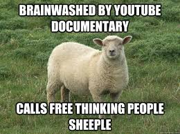 Sheeple Meme - brainwashed by youtube documentary calls free thinking people