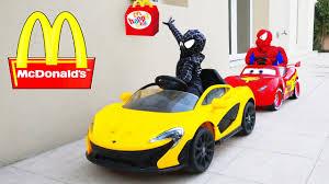 spiderman kids drives to mcdonalds w baby black spiderman joker