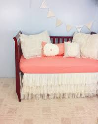 salmon and lace baby crib bedding salmon pink and ivory