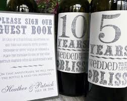 anniversary wine bottles anniversary labels etsy