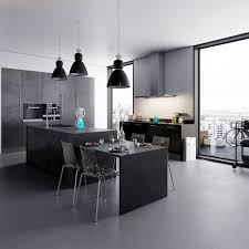 design minimalsit black mate contemporary multi level kitchen full size of fabulous black to white kitchen shades of grey three central pendant lights above