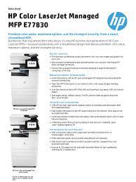 hp color laserjet managed mfp e77830 data sheet image scanner
