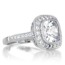 cushion cut engagement rings with halo vintage style halo cushion cut cz engagement ring