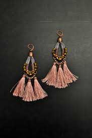 Costume Chandelier Earrings Gypsy Tassel Earrings Large Chandelier Earrings Apricot Drop