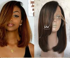 honey weave honey brown bob hair lace front wig side bangs best online human