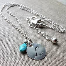 turquoise necklace silver chain images Personalized necklace monogram jewelry mother 39 s necklace silver jpg