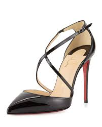 christian louboutin cross blake 100mm patent red sole pump in