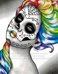 Dia De Los Muertos Home Decor Rainbow Day Of The Dead Sugar Skull Tattoo Art Signed