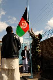 Standing Flag Banners The Afghanistan Flag The Symbol Of Afghan Pride