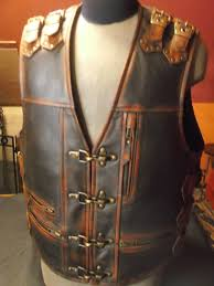 leather biker vest handmade biker vest motorcycle vest genuine leather brown xxl